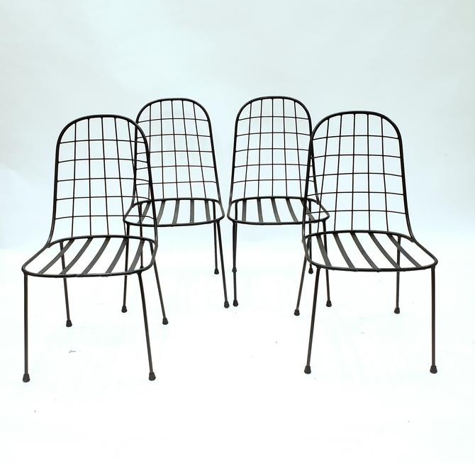 Set 4 Metal Vintage Outdoor Dining Chairs