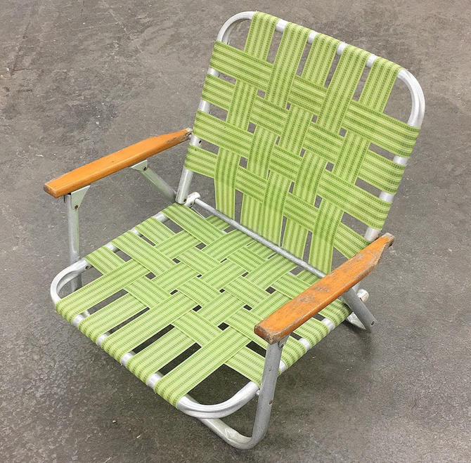 Vintage Beach Chair Retro 1980s Silver Aluminum + Lime Green + Woven + Webbed Straps + Wood Armrests + Folds Up + Outdoor Lawn or Patio by RetrospectVintage215