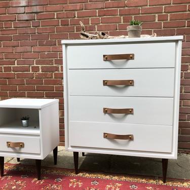 Midcentury dresser and nightstand set by emmaleejanedesign