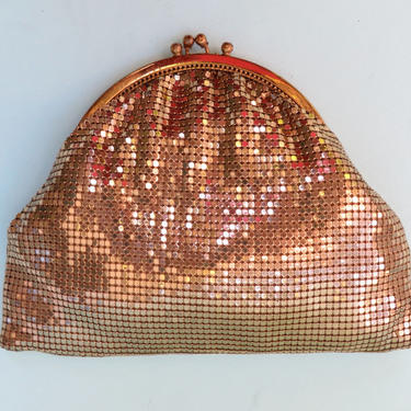 Vintage Whiting & Davis Gold Metal Mesh Evening Purse Clutch Bag Wallet by seekcollect