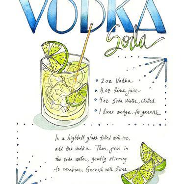 Vodka Soda Recipe Watercolor Art Print