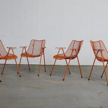 Set of 4 Woodard Sculptural Mesh Mid-Century Modern Dining Chairs, Arm Chairs, Outdoor Patio Furniture by AnnexMarketplace