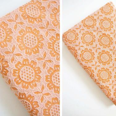 Vintage 60s Floral Beach Towel XL - 1960s Peach Orange Pool Towel - Large Beach Picnic Blanket - 2 Person Beach Towel by MILKTEETHS