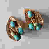 Robert Turquoise Glass Cabochon Leaf Earrings by LegendaryBeast