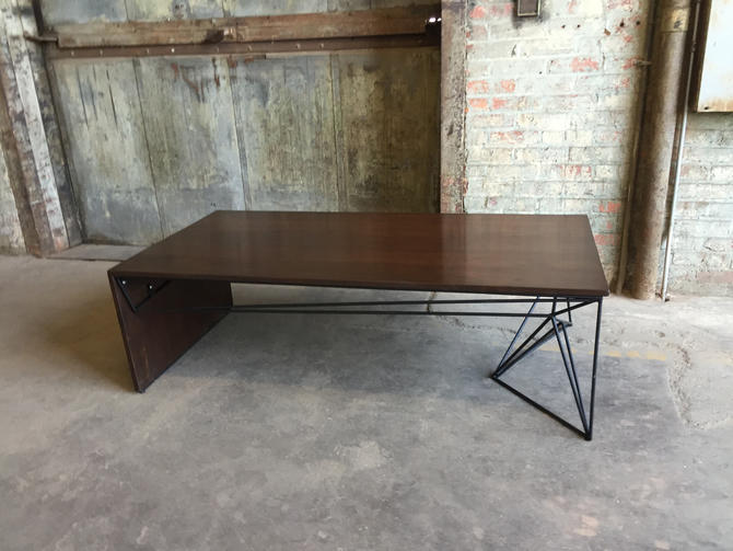 Modern Walnut Coffee Table, Geometric Welded Steel Base, Solid Wood by PWHFurniture