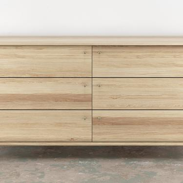 Lauren 6 Drawer Dresser- White oak solid wood Brass Hardware by OlivrStudio