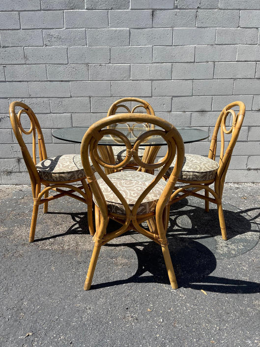 6pc Dining Set Rattan Faux Bamboo Chairs Table Hollywood Regency Chinese Chippendale Coastal Bohemian Boho Chic Wood Vintage Kitchen Wicker by DejaVuDecors