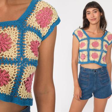Crochet Crop Top 70s Tank Top SHEER Shirt Vest Boho Blouse Open Weave Pink Blue 1970s Hippie Cutwork Bohemian Extra Small xs by ShopExile