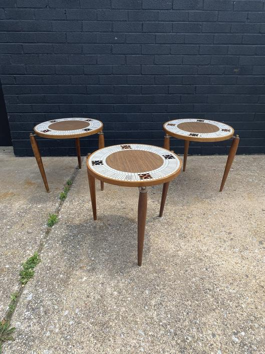 Set of Three Mid Century Tiled Stacking Snack Tables