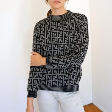 Vintage Fendi Zucca 1990s Knit Gray + Black Striped Neck Sweater FF 90s Monogram Logo 90s S M L by backroomclothing