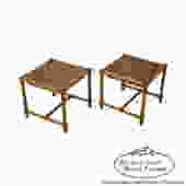 Tommi Parzinger Pair of Stools Reverse Top Low Tables by BucksEstateTraders