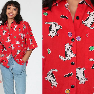 90s Button Up Shirt CAT PRINT 90s Oversize Blouse Animal Grunge Short Sleeve Top Red Collar Blouse Button Down Vintage Small Medium by ShopExile