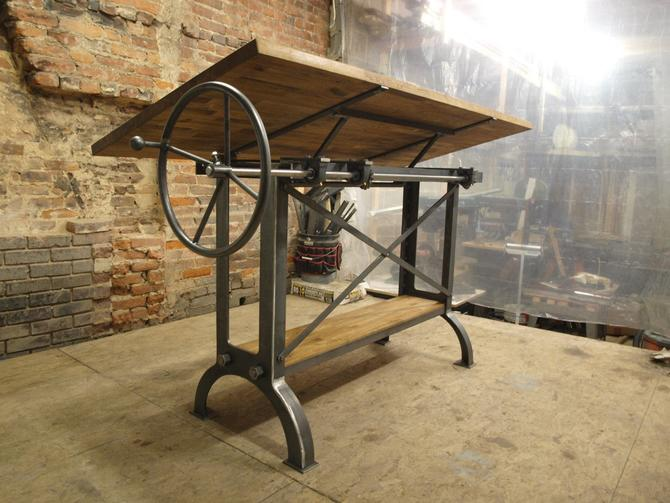 Large Stand Up Oak Industrial Drafting table desk by CamposIronWorks