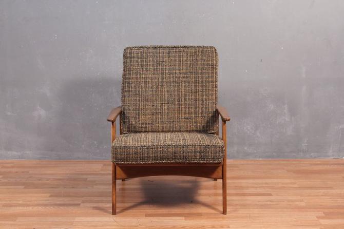 Mid Century Walnut & Woven Lounge Chair