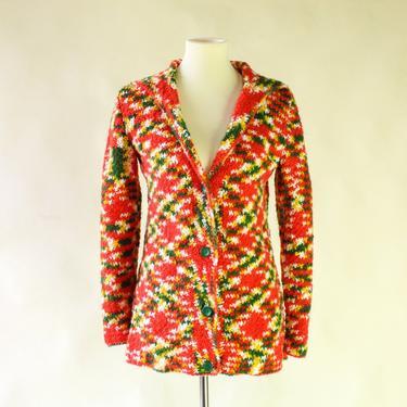 Handmade Rainbow Knit Cardigan / Vintage Hooded OOAK Unique One of a Kind Sweater Jacket Coat / Mod Gogo Hippie 60s 70s Orange Yellow Green by Hawksbride