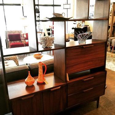 walnut cabinet/bar/desk/room divider with finished back