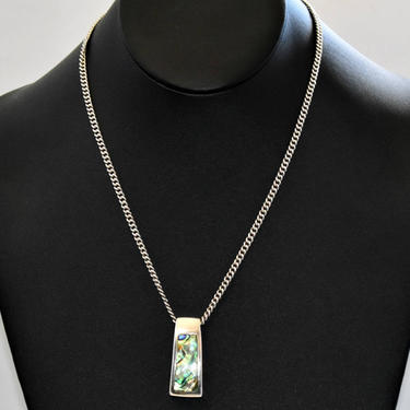 70's sterling abalone Modernist statement pendant, handsome geometric 925 silver & blue green shell inlay on curb chain necklace, marked GFJ by BetseysBeauties