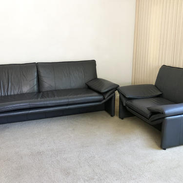 mid century post modern Italian style leather sofa couch & lounge chair by TripodModern