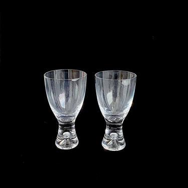 """Vintage Mid Century Modern PAIR of Art Glass Glasses IITTALA Tapio Wirkkala 5.75"""" TAPIO Design w/ Bubble Finland Designer Finnish Design by SwankyChaperooo"""