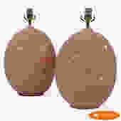 Pair of Round Ceramic Lamps