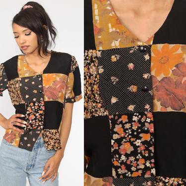 Patchwork Shirt Black Floral Top Hippie Blouse Grunge 90s Boho Top Short Sleeve Bohemian Button Up Vintage Rayon Medium by ShopExile