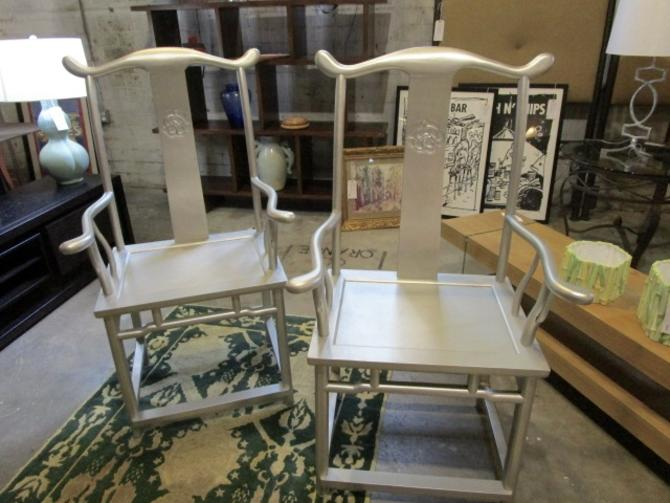 PAIR OF SILVER ASIAN STYLE CHAIRS