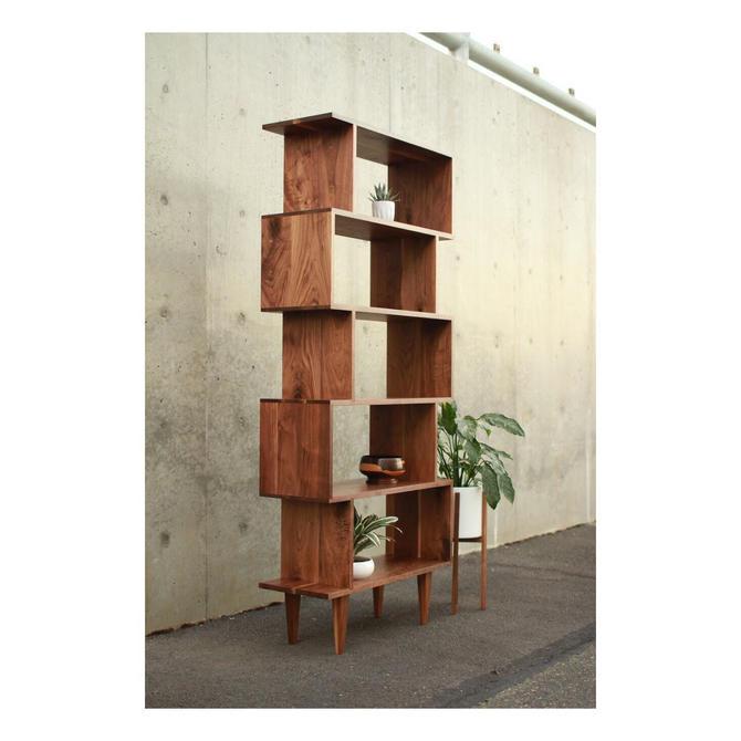 OFFSTACK Bookcase, Offset Bookcase, Solid Hardwood Staggering Shelf, Geometric Bookshelf (Shown in Walnut) by TomfooleryWood