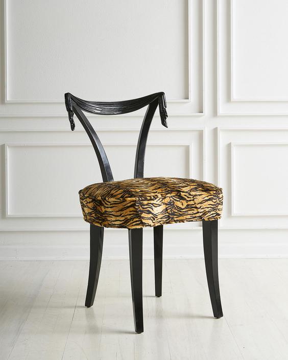 Tassel Motif Grosfeld House Chair in Animal Print Upholstery