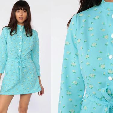 1a55d9750a93a Mod Shift Dress 70s Mini Aqua Blue Floral Rose Print Belted Button Up 60  Hippie Minidress