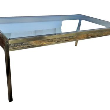 Mastercraft Brass\/Glass Dining Table with Bernhard Rohne Acid Etched Panels 1970s