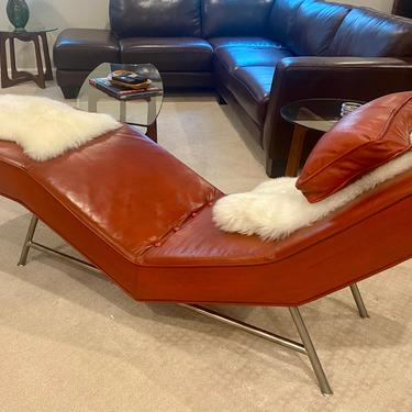 """Milo Baughman for Thayer Coggin Armless """"Fred"""" Chaise Lounge Red by MSGEngineering"""