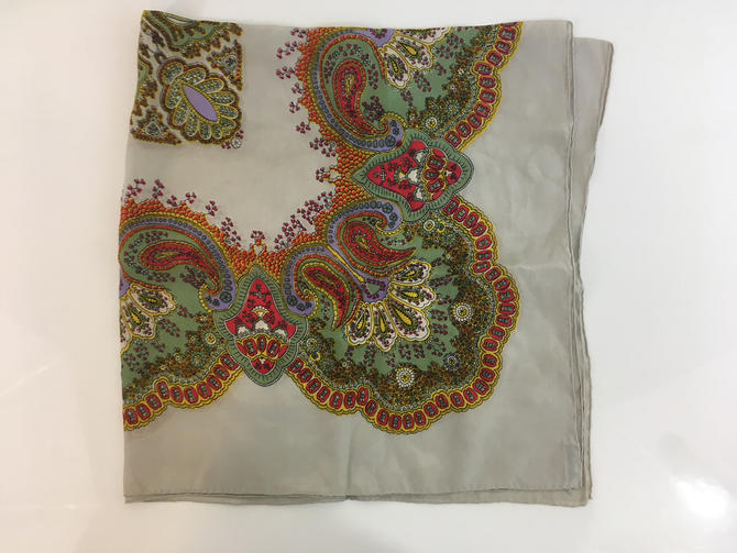 Vintage Pure Silk Scarf by Specialty House Gray Silver Red Green Paisley Floral 100% Silk Square Handkerchief Hanky Mid-Century Retro Ascot by CheckEngineVintage
