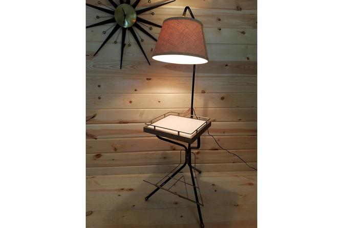 Mid Century Modern MCM Magazine Side Table with Lamp Attached by RedsRustyRelics
