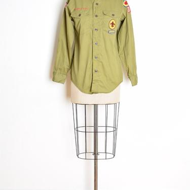vintage 60s shirt Boy Scouts of America green patches button up uniform top M clothing by huncamuncavintage