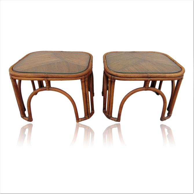 Pair of Pencil Reed Rattan End Tables Gabriella Crespi Style by VeronaVintageHome