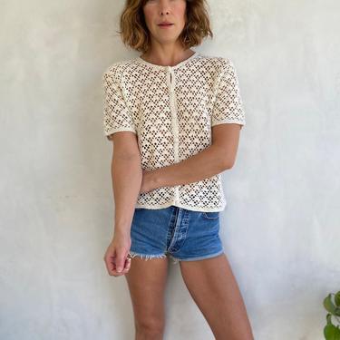90s Vintage Cream Knit Silk Top - Short Sleeve Button Up Ivory Off White Designer Shirt - Sexy Summer Overshirt - Festival Resortwear by LittleSparkVintage