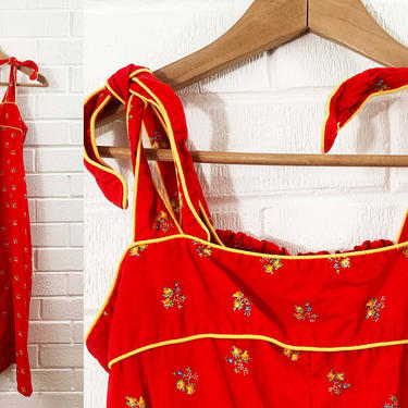 Vintage Red Floral Sundress Flowers Sun Dress Strappy Adjustable Tie Straps Yellow Smocking 1970s 70s Sleeveless Boho Summer Small XS by CheckEngineVintage
