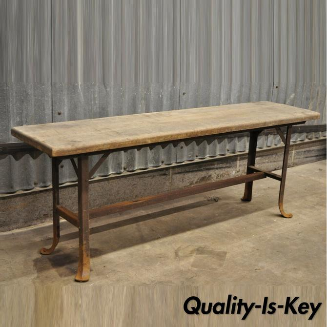 Antique Industrial Wood Slat Steel Metal Work Bench by Angle Steel Stool Co (B)