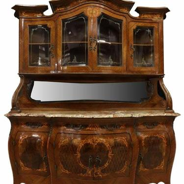 Sideboard, Bombe Display Cabinet, Fine Italian Marquetry, Early 1900's,
