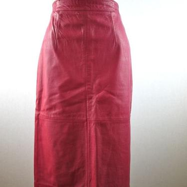 Pink Leather Pencil Skirt by citybone