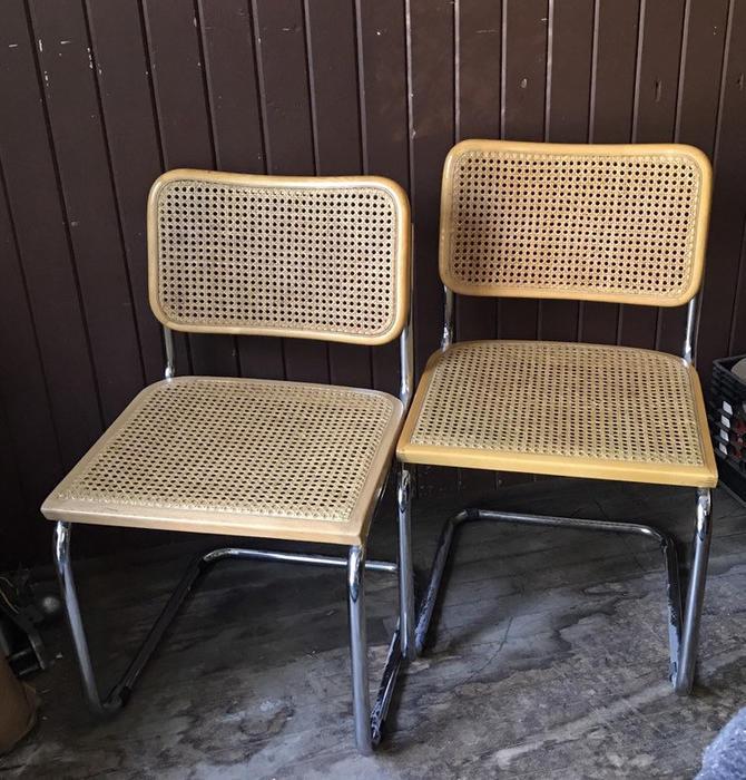 Pair Vintage Marcel Breuer B52 Cesca cane chairs by UrbanInteriorsBalt