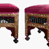 A Good Pair of Moroccan Carved and Inlaid Square Upholstered Stools