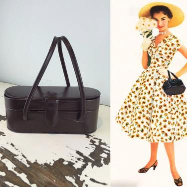 What Finds at the Farmer's Market - Vintage 1950S 1960s Chocolate Brown Oval Box Coffin Leather Handbag Purse by RoadsLessTravelled2