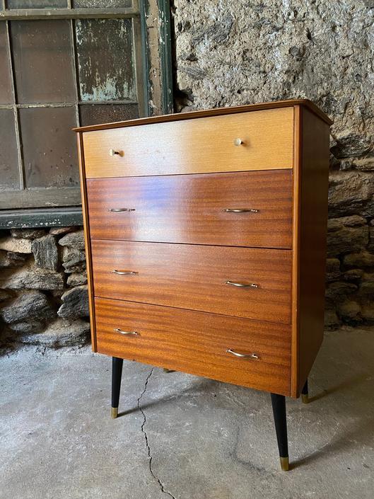 Mid century tall dresser Danish modern chest of drawers Art Deco bachelors chest by VintaDelphia