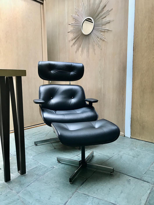 Eames Style Lounge Chair and Ottoman - Vintage Shells, New Leather by MidCenturyModHome