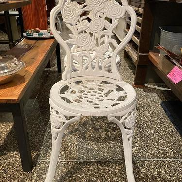 """Iron rose motif patio chair(s) 14.5"""" x 18""""x 34"""" Seat height is 17"""""""