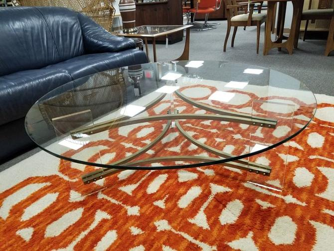 Mid-Century Modern large brass and Lucite coffee table