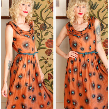 1950s Dress // Toni Todd Amoeba Sheer Dress // vintage 50s dress by dethrosevintage