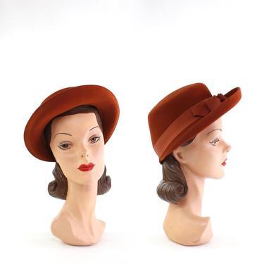 1940s Cinamon Orange Bonnet Fedora - 1940s Orange Fedora - 1940s Brown Fedora - 1940s Orange Bonnet Hat - 1940s Brown Bonnet Hat - 40s Hat by VeraciousVintageCo