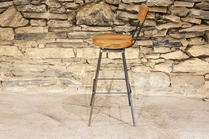 Free Shipping - The Sully - Reclaimed Wood and Industrial Rebar Swivel Bar Stools by BarnWoodFurniture